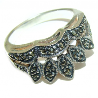 Fancy Marcasite .925 Sterling Silver Cocktail ring s. 7