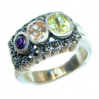 Posh Genuine Multigem .925 Sterling Silver handcrafted Statement Ring size 6