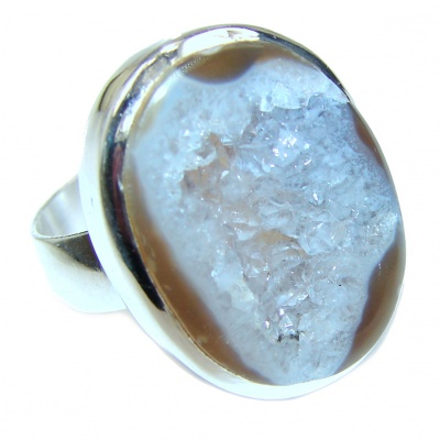 Huge Exotic Druzy Agate Sterling Silver Ring s. 8