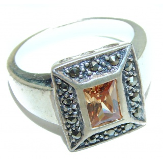 Golden Topaz .925 Sterling Silver handcrafted Ring Size 8