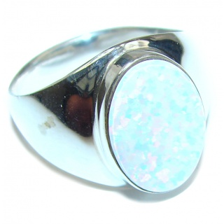 Vintage Design Pink Opal .925 Sterling Silver handcrafted ring size 9