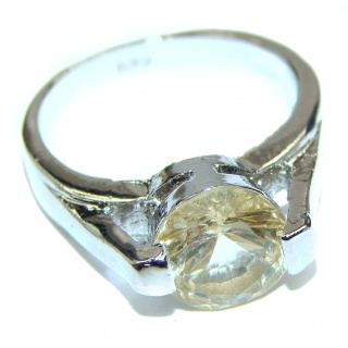 Vintage Style Natural Citrine .925 Sterling Silver handcrafted Ring s 7