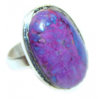 Huge Purple Turquoise .925 Sterling Silver handcrafted ring; s. 1/2