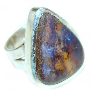 Australian Boulder Opal .925 Sterling Silver handcrafted ring size 7 3/4