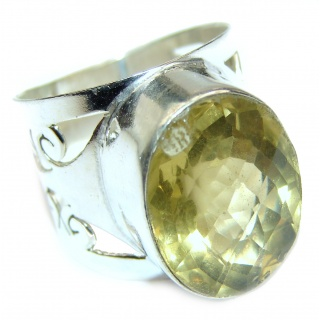 Vintage Style Natural Citrine .925 Sterling Silver handcrafted Ring s 7 1/2