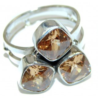 Vintage Style Natural Citrine .925 Sterling Silver handcrafted Ring s 10