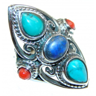 Lapis Lazuli, Turquoise .925 Sterling Silver handcrafted Ring s. 7 1/4