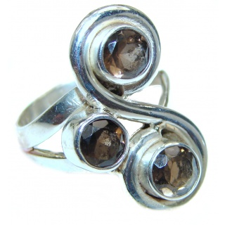 Large authentic Smoky Topaz .925 Sterling Silver handmade Ring size 8 1/4