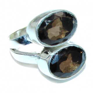 Authentic Smoky Quartz .925 Sterling Silver handcrafted ring s. 8 1/2
