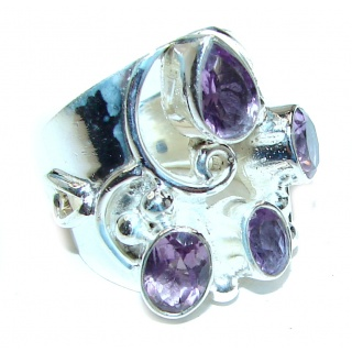 Alessandra Natural Amethyst .925 Sterling Silver handcrafted ring size 6
