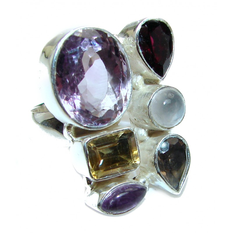 Posh Genuine Multigem .925 Sterling Silver handcrafted Statement Ring size 9