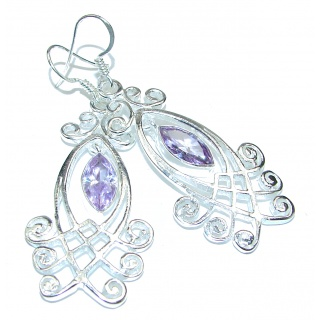 Purple Oval Amethyst .925 Sterling Silver handmade Earrings