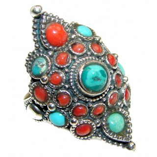 Coral Turquoise .925 Sterling Silver handcrafted Ring s. 6 1/4