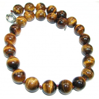 Large Perfect Gift Golden Tigers Eye .925 Sterling Silver Hand-Knot Necklace