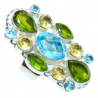 Authentic multicolor Quartz .925 Sterling Silver handcrafted ring s. 9 3/4