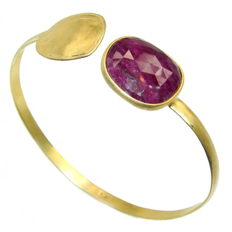 Precious Ruby 14K Gold over .925 Sterling Silver handmade Bracelet