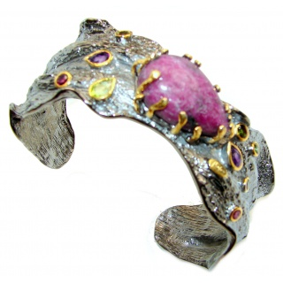 One of the kind GENUINE Eudialyte 14KGold over .925 Sterling Silver Bracelet / Cuff