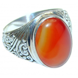 Genuine Carnelian .925 Sterling Silver handmade Ring Size 8 1/2