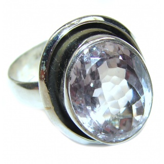 Fancy White Topaz .925 Sterling Silver handmade Ring s. 7 1/2