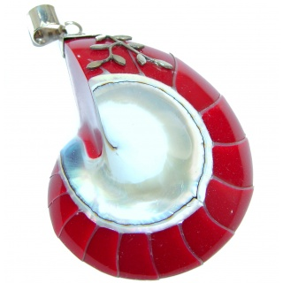Rich Design Genuine NAUTILUS SHELL Sterling Silver handmade Pendant