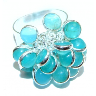 Blue Chalcedony Agate .925 Sterling Silver handcrafted cha-cha Ring s. 8