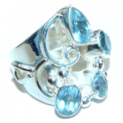 Melissa Genuine Swiss Blue Topaz .925 Sterling Silver handcrafted Statement Ring size 6
