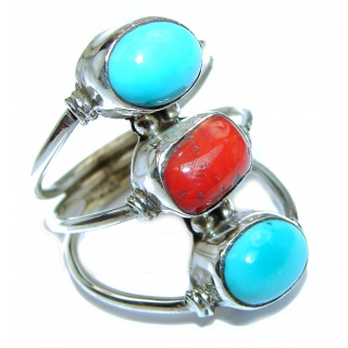 Natural Fossilized Coral & Turquoise .925 Sterling Silver handmade ring s. 9