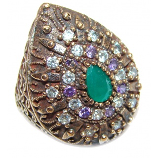 Victorian Style created Emerald & White Topaz Copper over Sterling Silver ring; s. 7 1/2