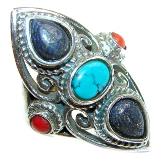 Natural Fossilized Coral & Turquoise .925 Sterling Silver handmade ring s. 7 1/2