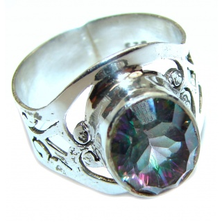 Perfect Mystic Topaz Sterling Silver Ring s. 8 1/2