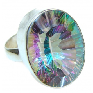 Perfect Mystic Topaz Sterling Silver Ring s. 8