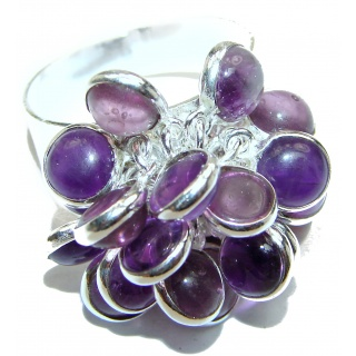 Amethyst .925 Sterling Silver handmade CHA CHA ring s.10