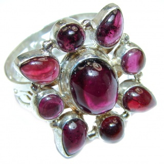 Large Genuine Garnet .925 Sterling Silver handcrafted Statement Ring size 8