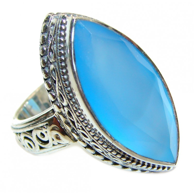 Huge Blue Chalcedony Agate .925 Sterling Silver handcrafted Ring s. 6