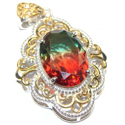 Deluxe Emerald cut Tourmaline 18K Gold over .925 Sterling Silver handmade Pendant