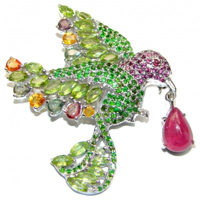 Large Beauty genuine Peridot Ruby .925 Sterling Silver handmade Pendant - Brooch