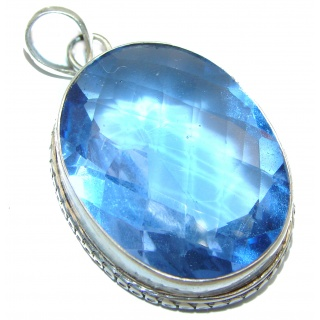 Royal quality genuine 55ctw Quartz .925 Sterling Silver handcrafted Pendant