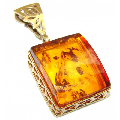 Natural Honey Amber 14K Gold over .925 Sterling Silver handmade Pendant