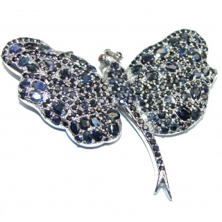 Large Beautiful Butterfly genuine Sapphire .925 Sterling Silver handmade Pendant - Brooch