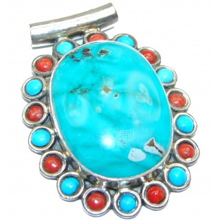 Genuine Coral Turquoise .925 Sterling Silver handcrafted Pendant
