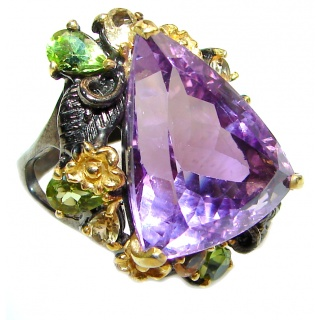 Trilliant cut Purple Perfection Amethyst black rhodium over .925 Sterling Silver Ring size 9