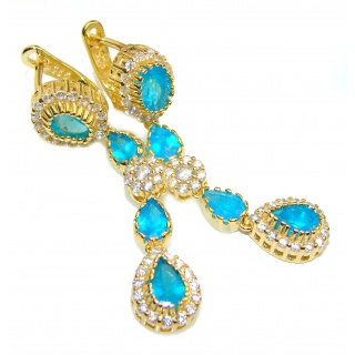Pear Apatite Paraiba Blue 14K Gold over .925 Sterling Silver earrings