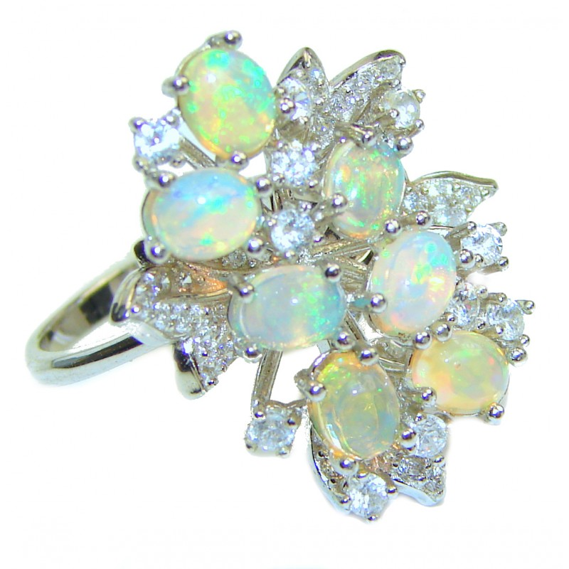 Dazzling natural Ethiopian Opal .925 Sterling Silver handcrafted ring size 7