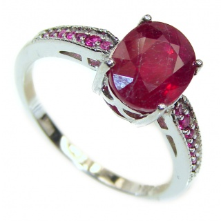 Genuine 4.2ctw Ruby .925 Sterling Silver handcrafted Statement Ring size 7