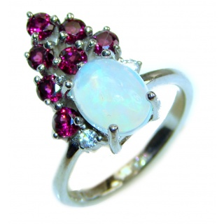 Vintage Design Ethiopian Opal .925 Sterling Silver handcrafted ring size 6 1/4