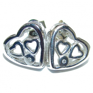 Cute Hearts .925 Sterling Silver handcrafted earrings