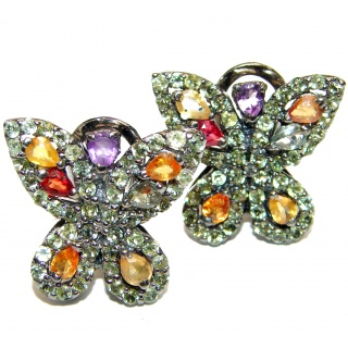 Posh Butterflies Authentic Multicolor Sapphire .925 Sterling Silver handmade earrings