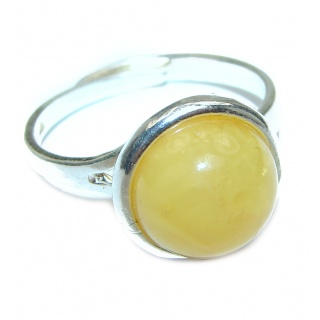 Baltic Amber .925 Sterling Silver handcrafted Ring s. 6 adjustable