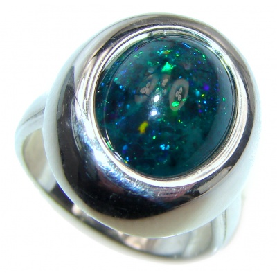 Vintage Design 5ctw Genuine Black Opal .925 Sterling Silver handmade Ring size 7