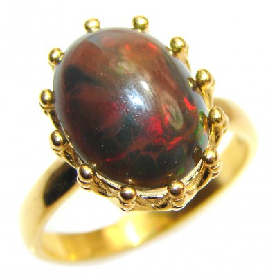 Vintage Design 2.5ctw Genuine Black Opal .925 Sterling Silver handmade Ring size 8
